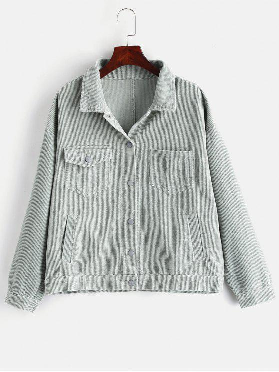 lady Pockets Button Up Corduroy Jacket - SEA GREEN S
