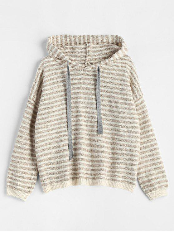 new Hooded Striped Pullover Sweater - CAMEL BROWN ONE SIZE