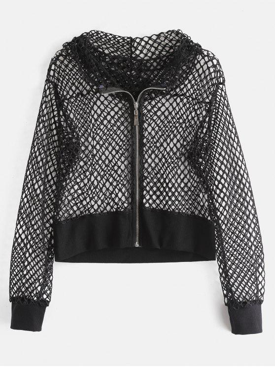 shops Hooded Hollow Out Fishnet Jacket - BLACK L