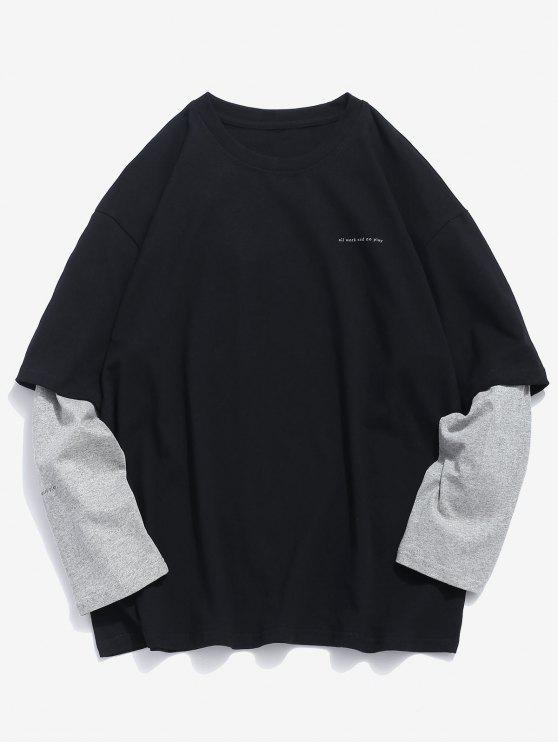 latest False Two Piece Long Sleeve T-shirt - BLACK L