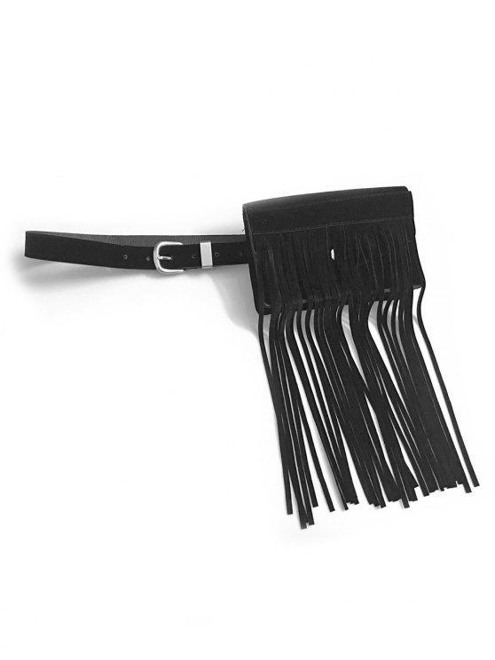 Bolsa de cintura de color sólido con flecos - Negro