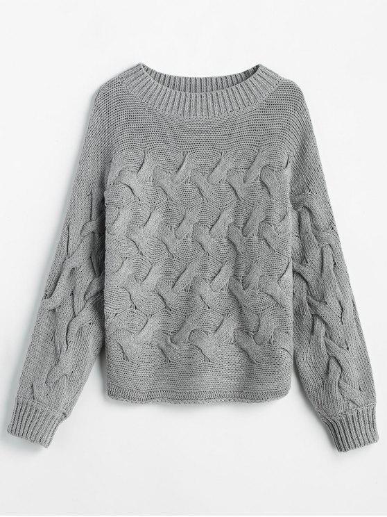 women's Basketweave Knit Batwing Sweater - GRAY S