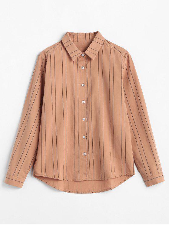 trendy Button Up Stripe Print Shirt - ORANGE SALMON S