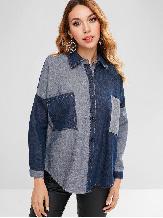 new Denim Pocket Jean Jacket - DENIM DARK BLUE ONE SIZE
