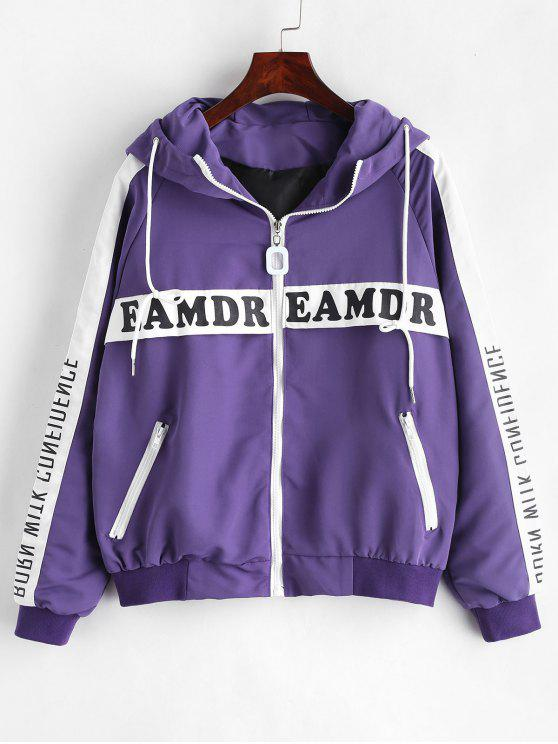 outfit Letter Raglan Sleeve Hooded Jacket - PURPLE L