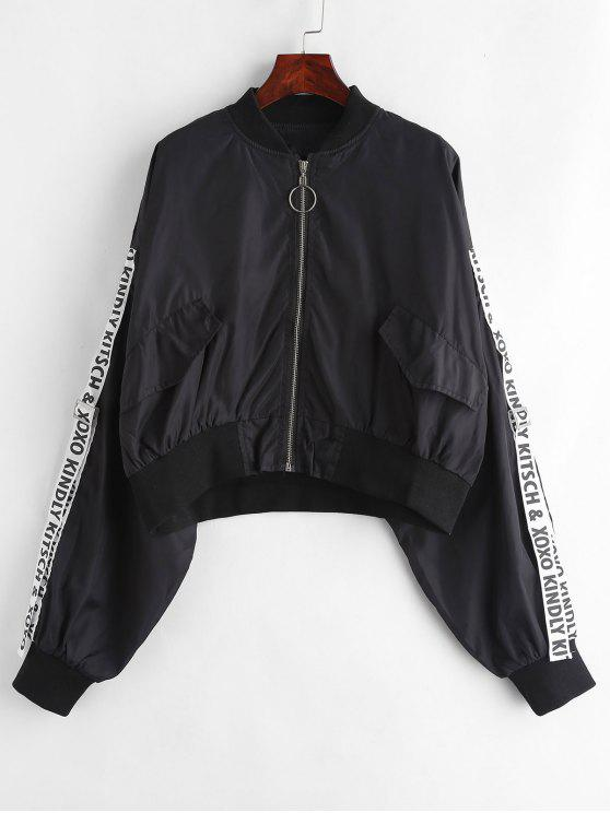 letter-ribbon-zip-up-bomber-jacket---black-s by zaful