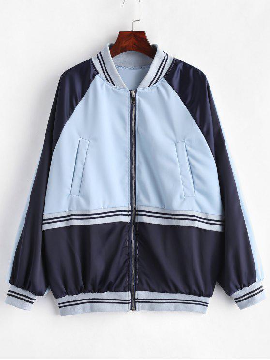 buy Raglan Sleeve Striped Color Block Jacket - SEA BLUE M
