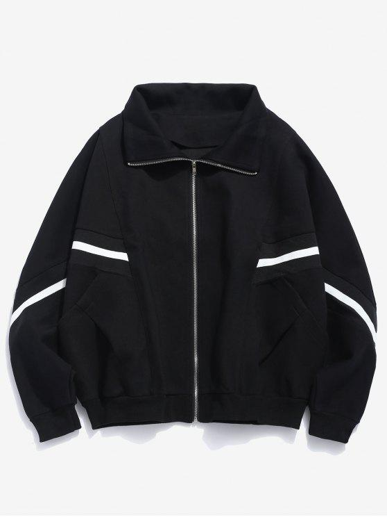 online Bat Sleeve Striped Patch Jacket - BLACK M
