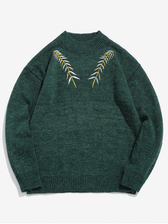 latest Embroidered Leaf Knit Sweater - SEA GREEN M