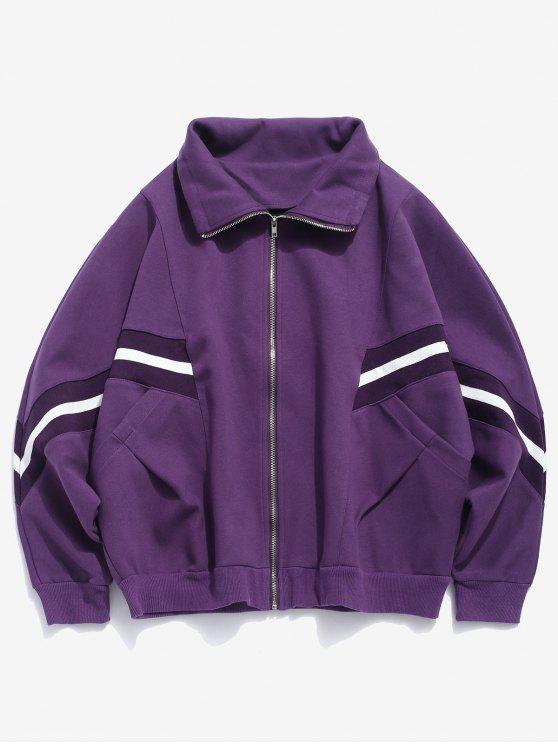 trendy Bat Sleeve Striped Patch Jacket - PURPLE AMETHYST 2XL