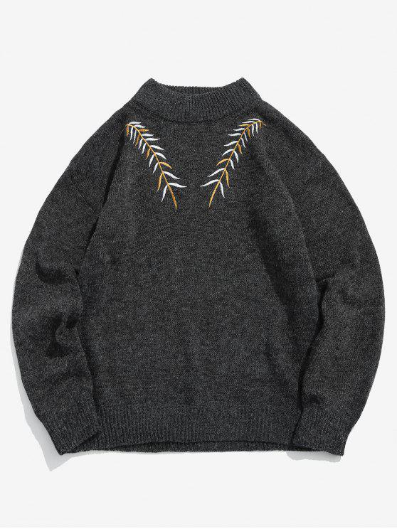 womens Embroidered Leaf Knit Sweater - BLACK XS