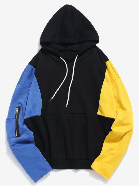 online Color Block Patchwork Hoodie - BLACK M