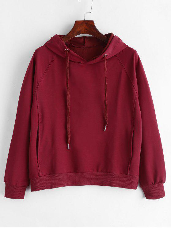 outfits Drawstring Side Pockets Pullover Hoodie - RED WINE L