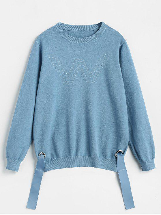 fancy Letter Side Tied Knit Sweater - DEEP SKY BLUE ONE SIZE