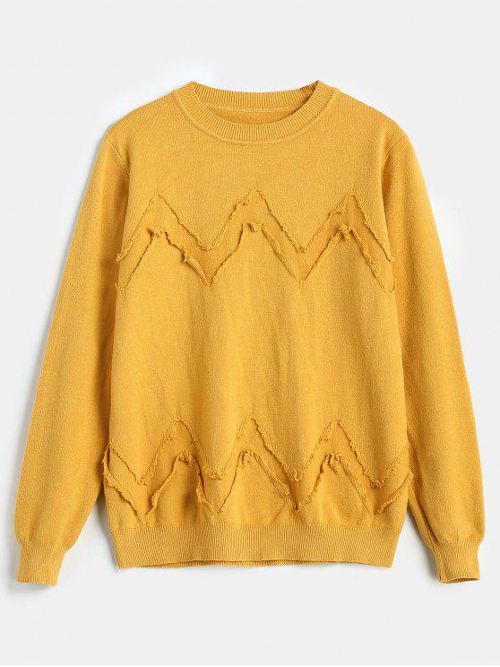 womens Pullover Chevron Ripped Sweater - YELLOW ONE SIZE