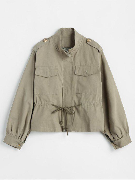 women's Drawstring Waist Zip Up Safari Jacket - CAMOUFLAGE GREEN ONE SIZE