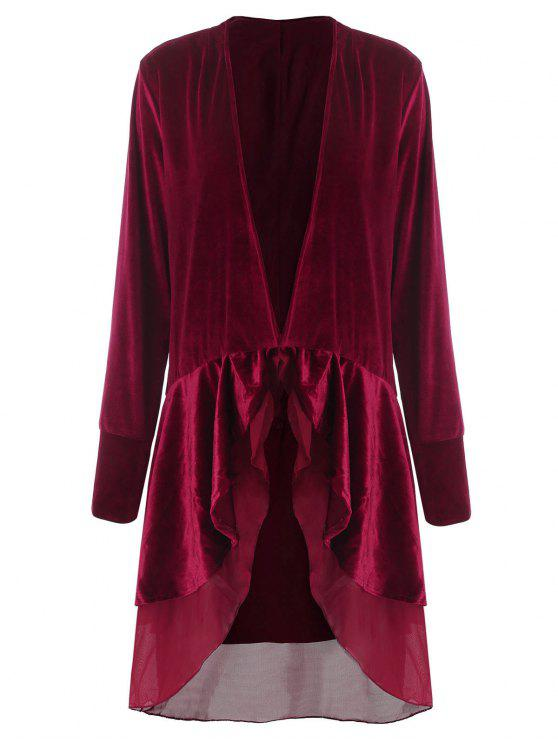 best Swingy Velvet Long Sleeve Coat - CLARET XL