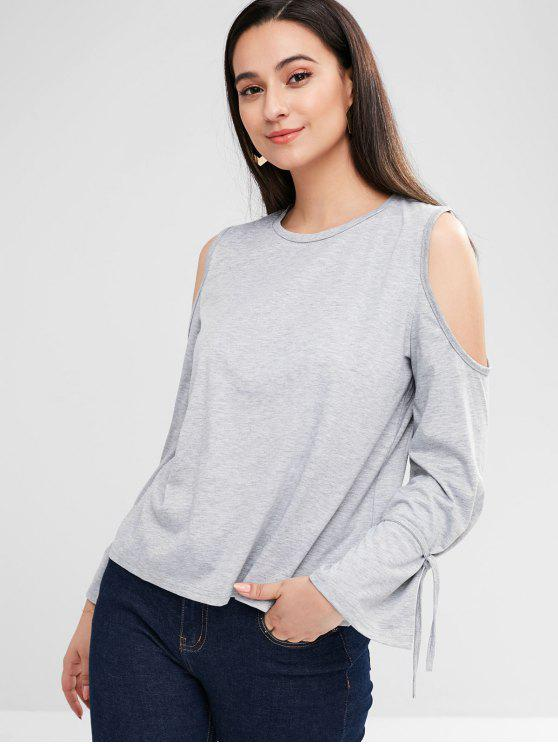best Cold Shoulder Flare Sleeve Tee - GRAY M