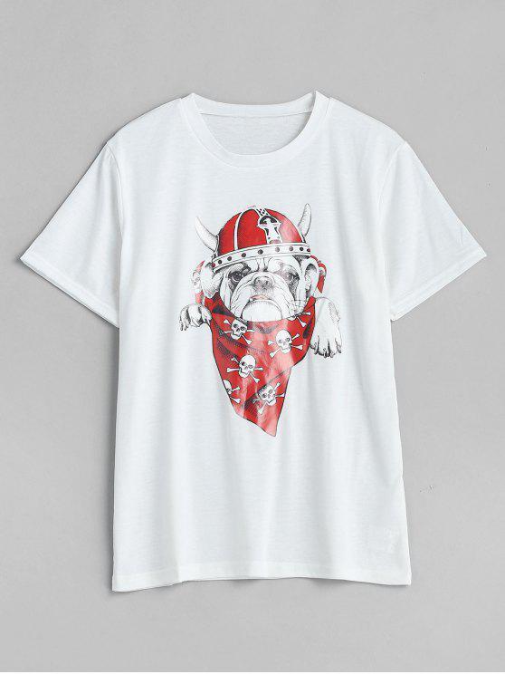 Tee-shirt imprimé col rond - Blanc XL