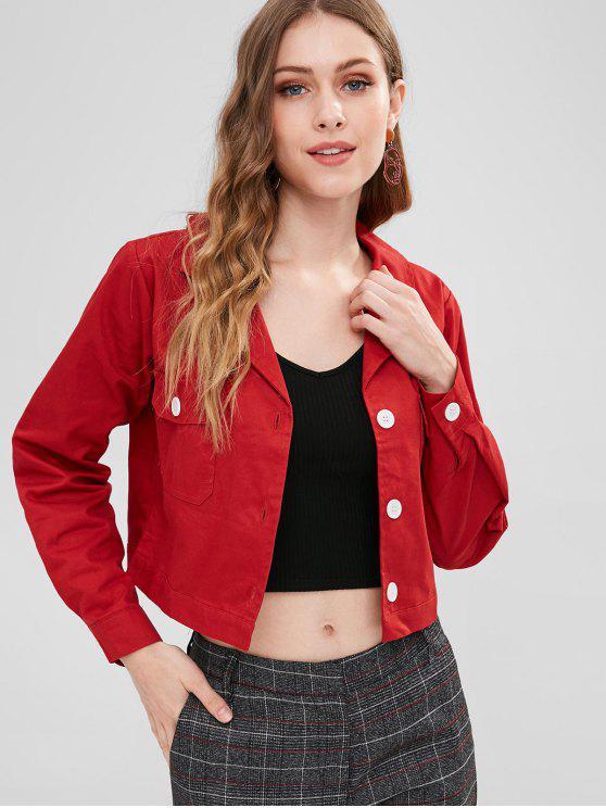 buy Patch Pocket Twill Jacket - CHESTNUT RED M