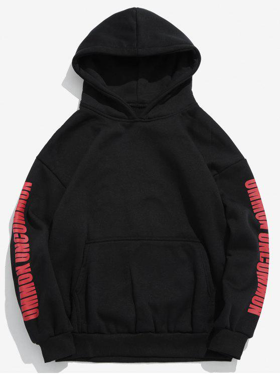 lady Solid Letters Pouch Pocket Fleece Hoodie - BLACK S