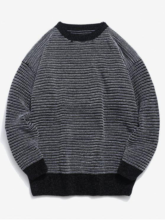 trendy Soft Striped Knit Sweater - BLACK L