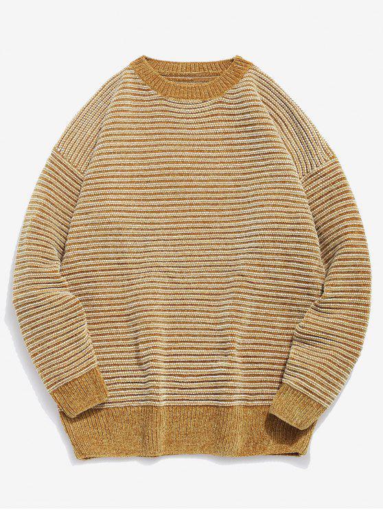 fancy Soft Striped Knit Sweater - BEE YELLOW 2XL