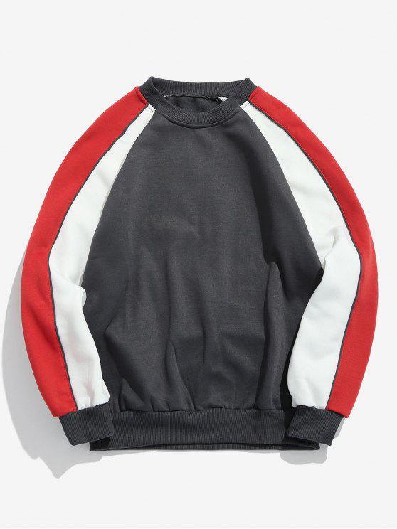 sale Contrast Raglan Sleeve Fleece Sweatshirt - GRAY M