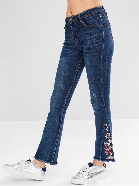 lady Embroidery Frayed Hem Flare Jeans - DENIM DARK BLUE L