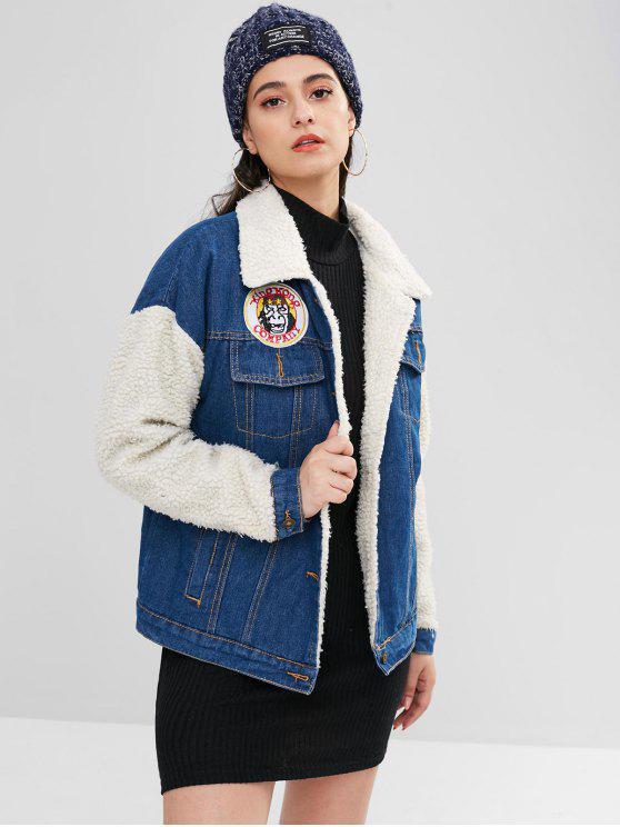 chic Single Breasted Denim Fluffy Coat - DENIM DARK BLUE S
