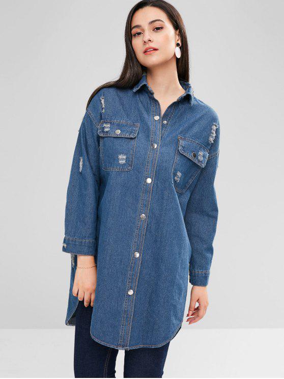sale Distressed Snap Button Denim Coat - DENIM BLUE ONE SIZE
