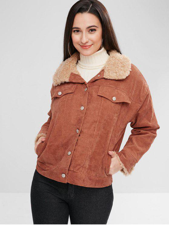 buy Corduroy Single Breasted Fluffy Lined Coat - BROWN L
