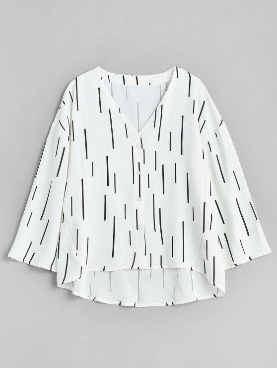 outfits Vertical Print High Low Blouse - WHITE ONE SIZE