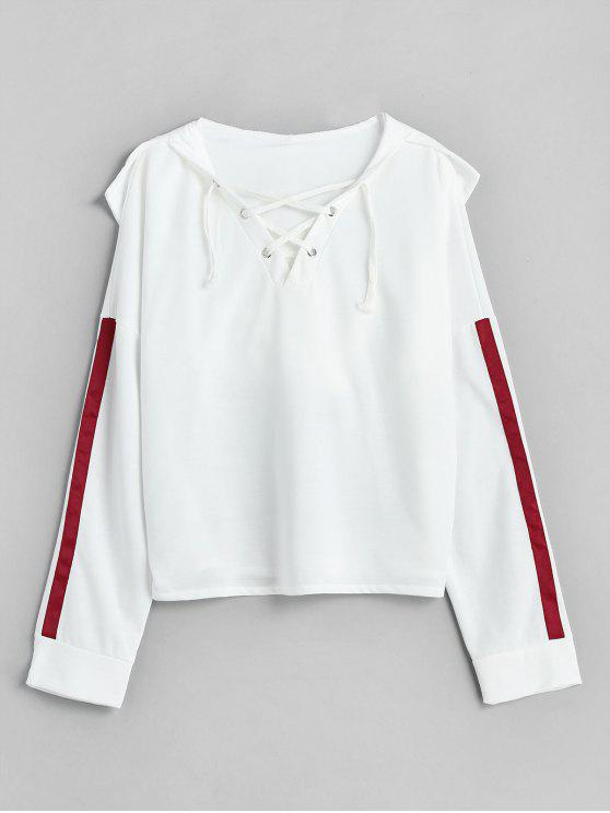 latest Side Stripes Lace Up Hoodie - WHITE M