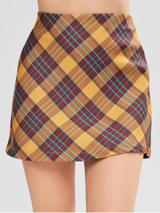 women's Bodycon Plaid Skirt - MULTI M