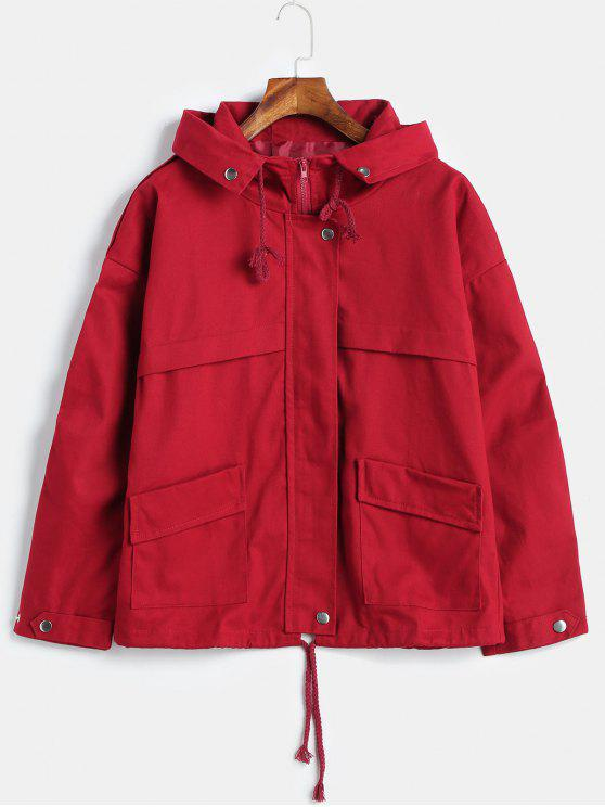 fancy Hooded Patch Pockets Twill Jacket - RED WINE S