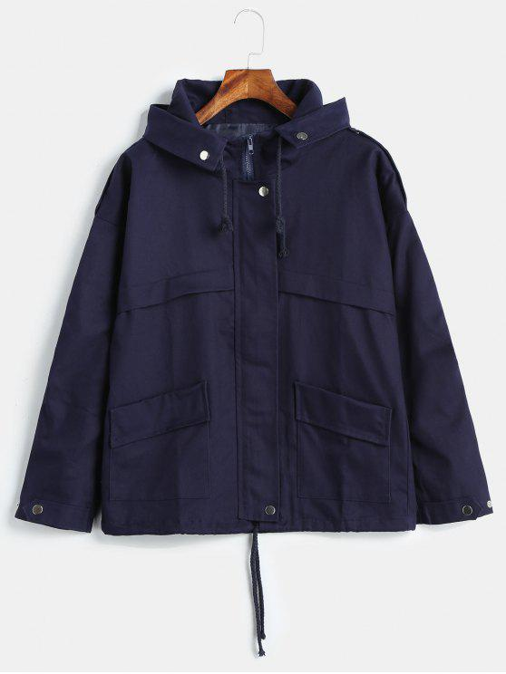 buy Hooded Patch Pockets Twill Jacket - NAVY BLUE M