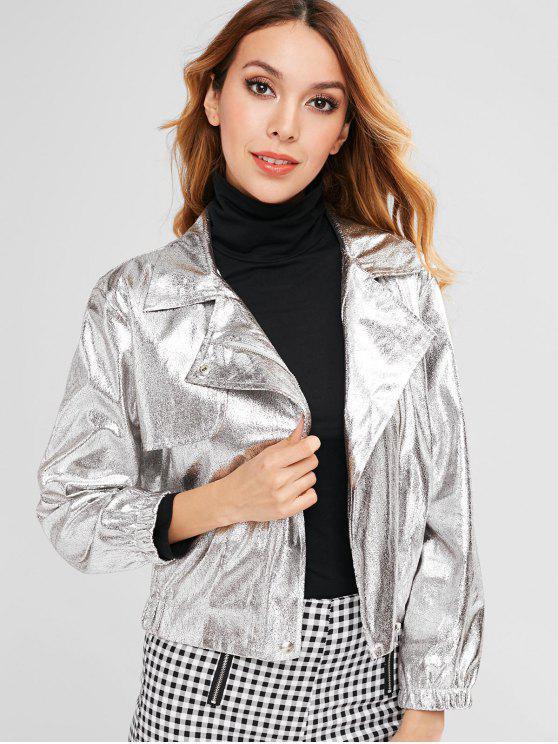 women's Metallic Jacket with Zipper Fly - SILVER M