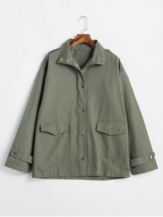 best Two Pocket Twill Jacket - CAMOUFLAGE GREEN ONE SIZE