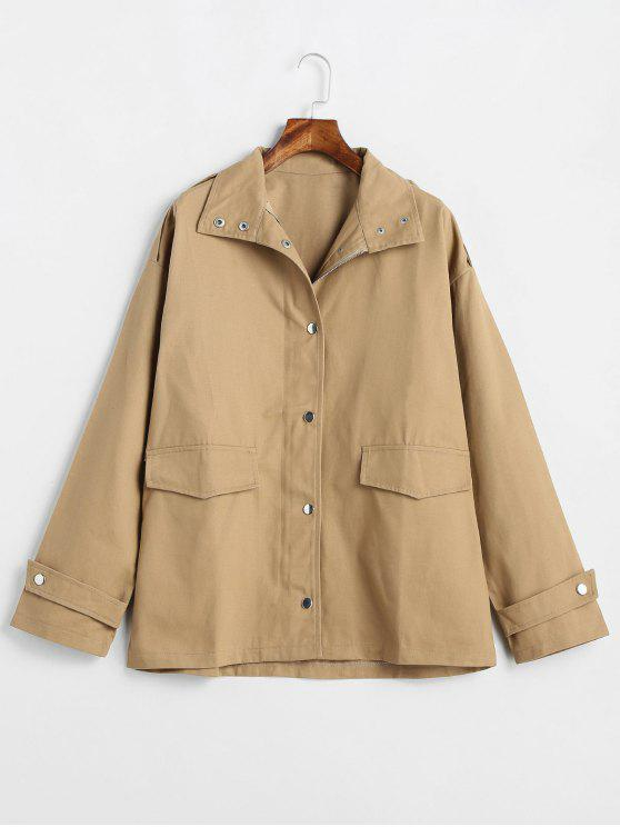 online Two Pocket Twill Jacket - CAMEL BROWN ONE SIZE