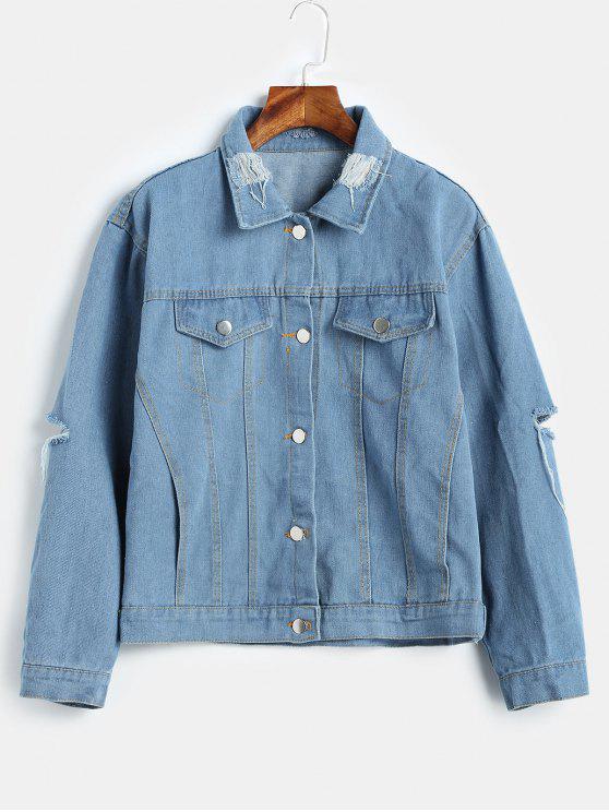 hot Distressed Western Denim Jacket - DENIM BLUE L