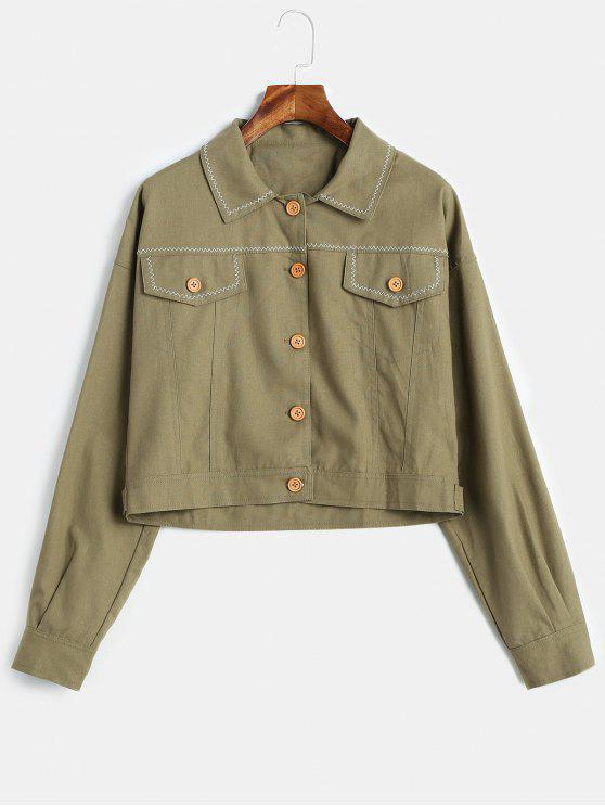 shop Button Front Shacket Jacket - CAMOUFLAGE GREEN S
