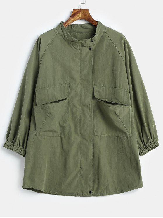 trendy Two Pocket Lightweight Oversized Jacket - ARMY GREEN ONE SIZE