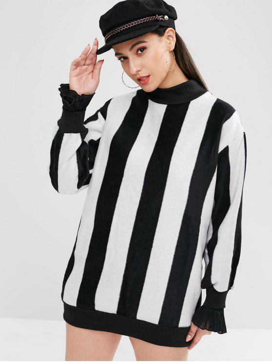 fashion Stripe Pleated Cuff Sleeves Mini Sweatshirt Dress - MULTI-A ONE SIZE