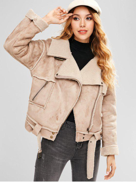 outfits Faux Suede Belted Pocket Coat - LIGHT KHAKI M