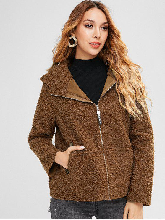 women Side Zip Hooded Fluffy Coat - BROWN XL