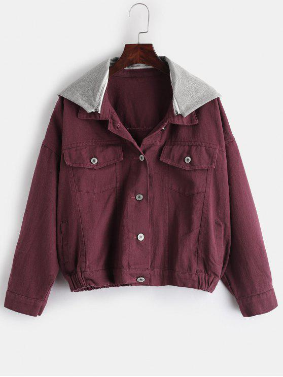 women's Contrast Hood Pockets Jacket - RED WINE M