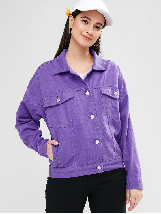 lady Button Up Pockets Shirt Jacket - MEDIUM PURPLE L