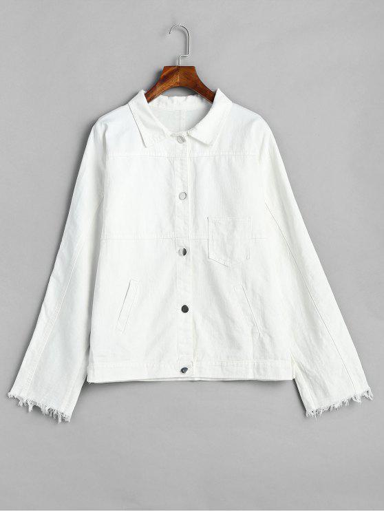 online Buttoned Oversized Denim Jacket - WHITE XL