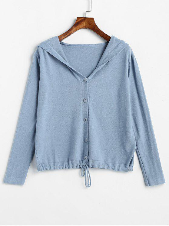 outfit Hooded Button Detail Cardigan - BLUE KOI ONE SIZE